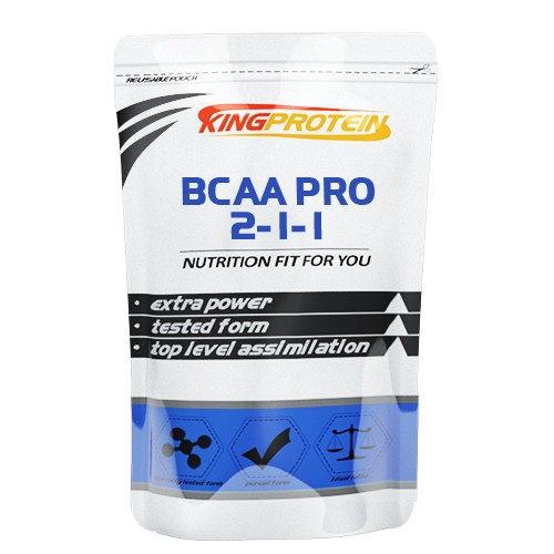 BCAA Pro 2-1-1БЦАА (BCAA)<br>Их роль наглядно демонстрирует процентная доля содержания этих 3-ех аминокислот в мышцах по сравнению с другими 17-тью в организме. Около 35% от суммарной доли всех аминокислот в мышечных тканях приходится именно на лейцин, изолейцин и валин. Поэтому BCAA играют ключевую роль в восстановительных процессах мышечных клеток, построении новой ткани и в обеспечении мышц энергией прямо во время тренировки.<br>